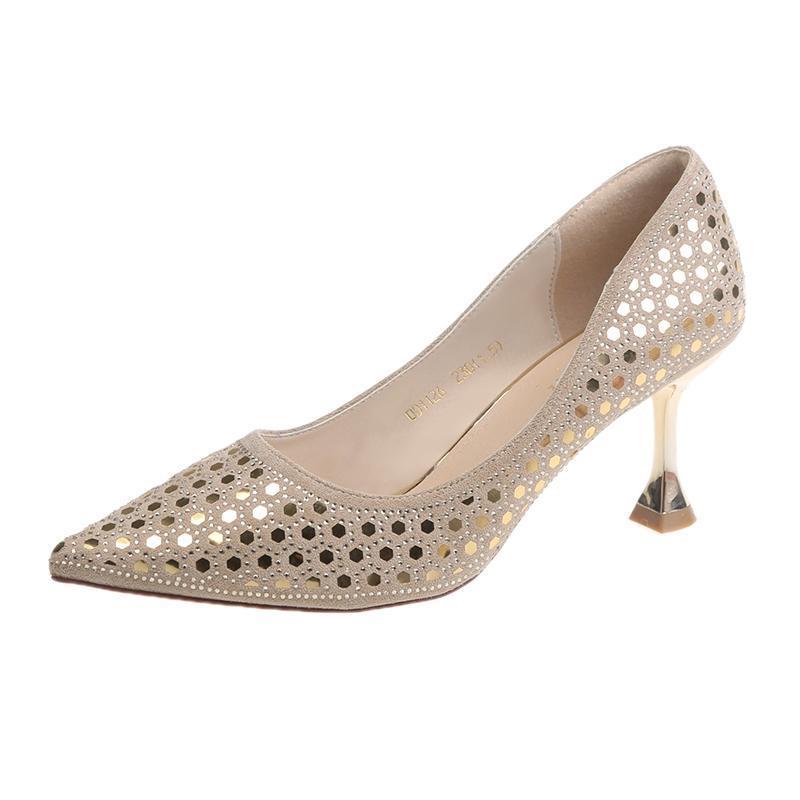 Neue Frauen Schuhe Hohe dünne Fersen spitz spitz flach sexy damen party schuhe bling braut hochzeit beige frauen pumpen
