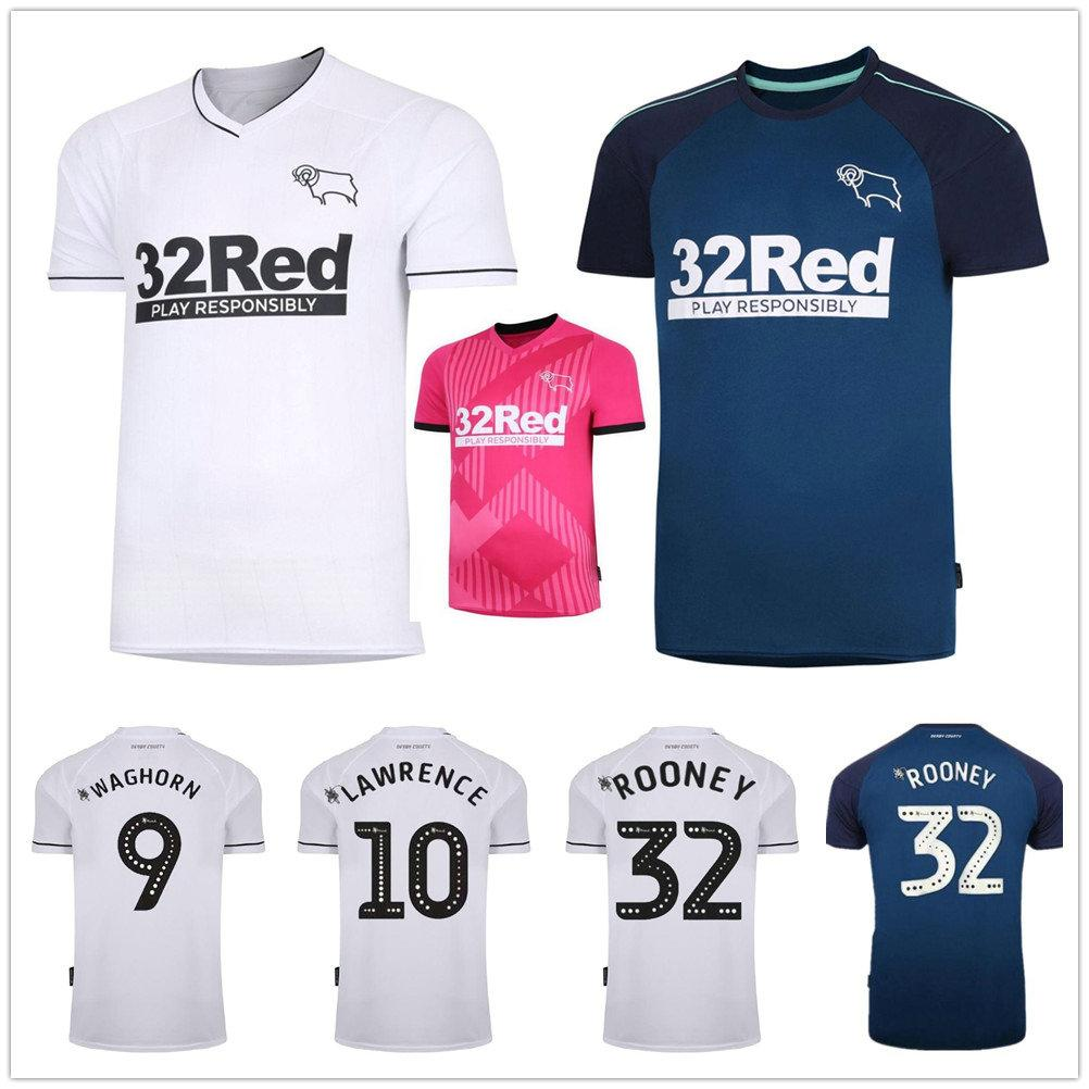 2020 2021 Derby County Soccer Jerseys Rooney LAWRENCE WAGHORN DOWELL PATERSON BUCHANAN Custom Home Away Third 3RD Pink Football Shirts