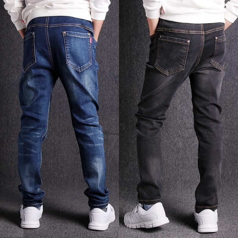 Jeans para meninos primavera novo 3-16t meninos jeans solto elástico casual sólido crianças roupas cowboy calças de alta qualidade y200409