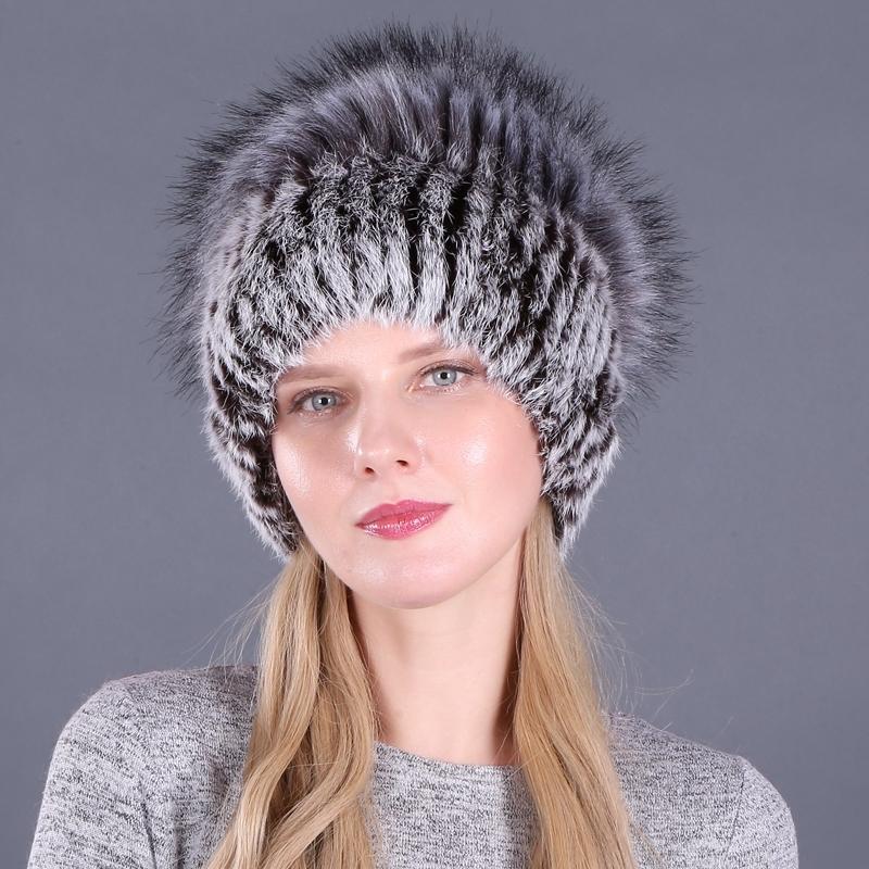 Bom Elastic Natural Fofinho Faux Silver Fox Hat Chapéu Novo Inverno Mulheres Malha Real Rabbit Fur Chapéus Lady Real Fur Cap Wholesale Y200103