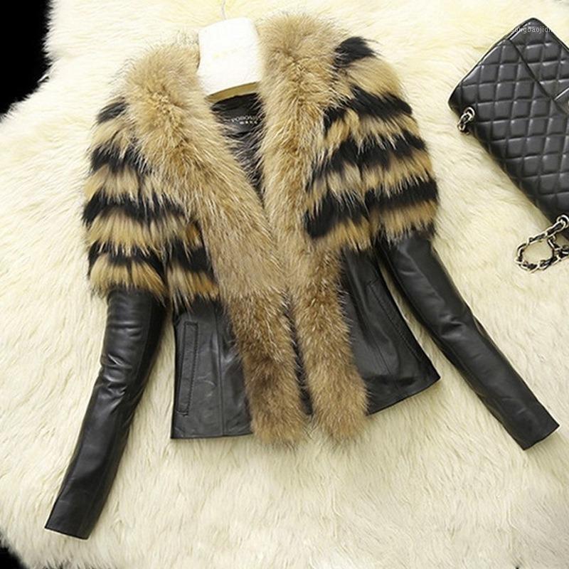 Chute / hiver nouveau style femme manteau de fourrure FAUX RACCOON fourrure feak mouton peau peau manteau et une mode Ourwear B3411