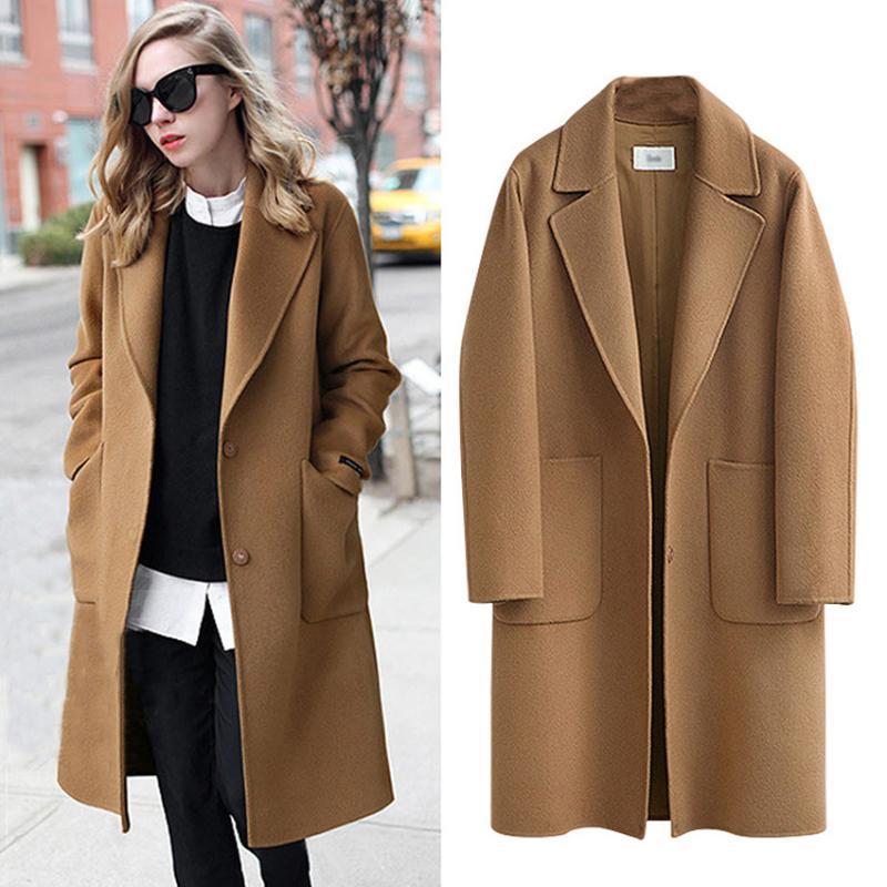 Kadınlar için yeni sonbahar kış ceket geniş yaka cep yün karışım ceket boy uzun trençkotlar dış giyim kadın zarif yün