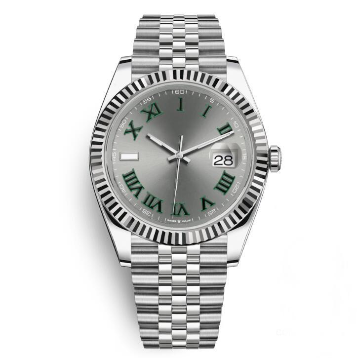 Top Fashion Automatic Mens orologio Grigio quadrante Green Roman Two Tone Rose Gold 316L Acciaio 41mm Gool Quality Braccialetto orologi Montre Femme Relogioes