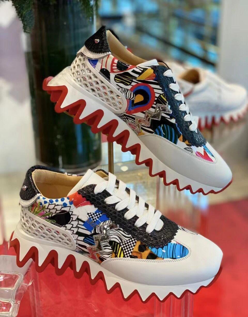 Mükemmel Tasarımcı Kırmızı Alt Loubishark Sneakers Erkekler için Daireler, Kadın Açık Spor Rahat Yürüyüş Ayakkabıları Moda Eğitmenler EU35-47 Kutusu Ile