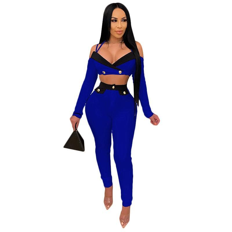 Женские трексуиты плюс размер женщин одежда из двух частей набор сексуальных партийных клубов на наряды для урожая и брюки Bodycon 2