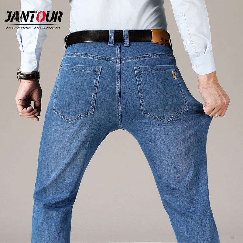 Jantour Marke Herbst Winter Jeans Männer Mode Business Classic Hellblaue Baumwolle Gerade Hose Große Größe 35 38 40 42 44 46 J1208