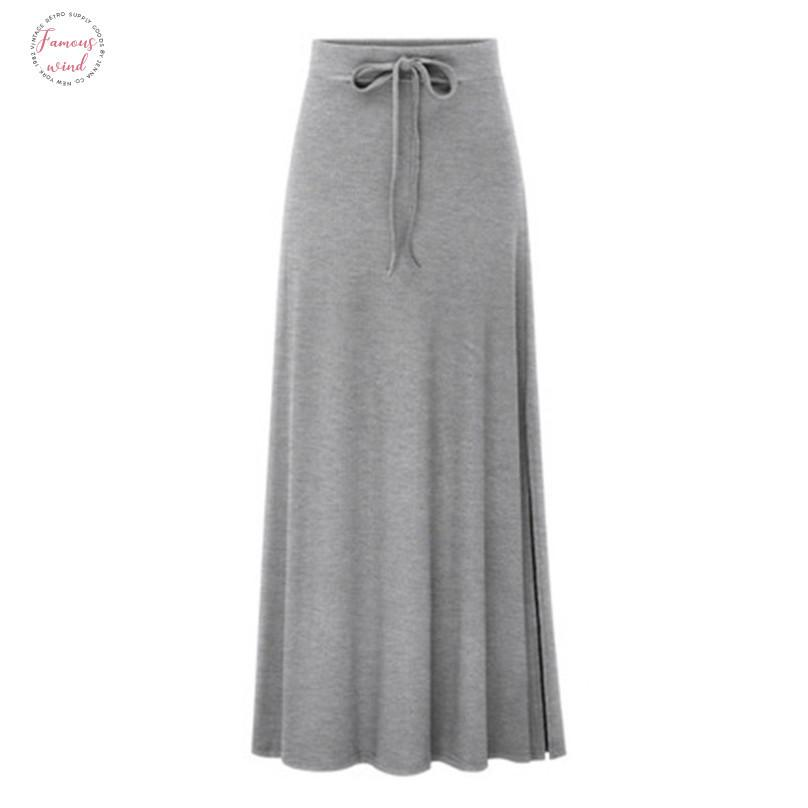 Summer Fashion Skirt With Pocket High Quality Solid Ankle Length Vintage Skirt For Women Black Long Skirt