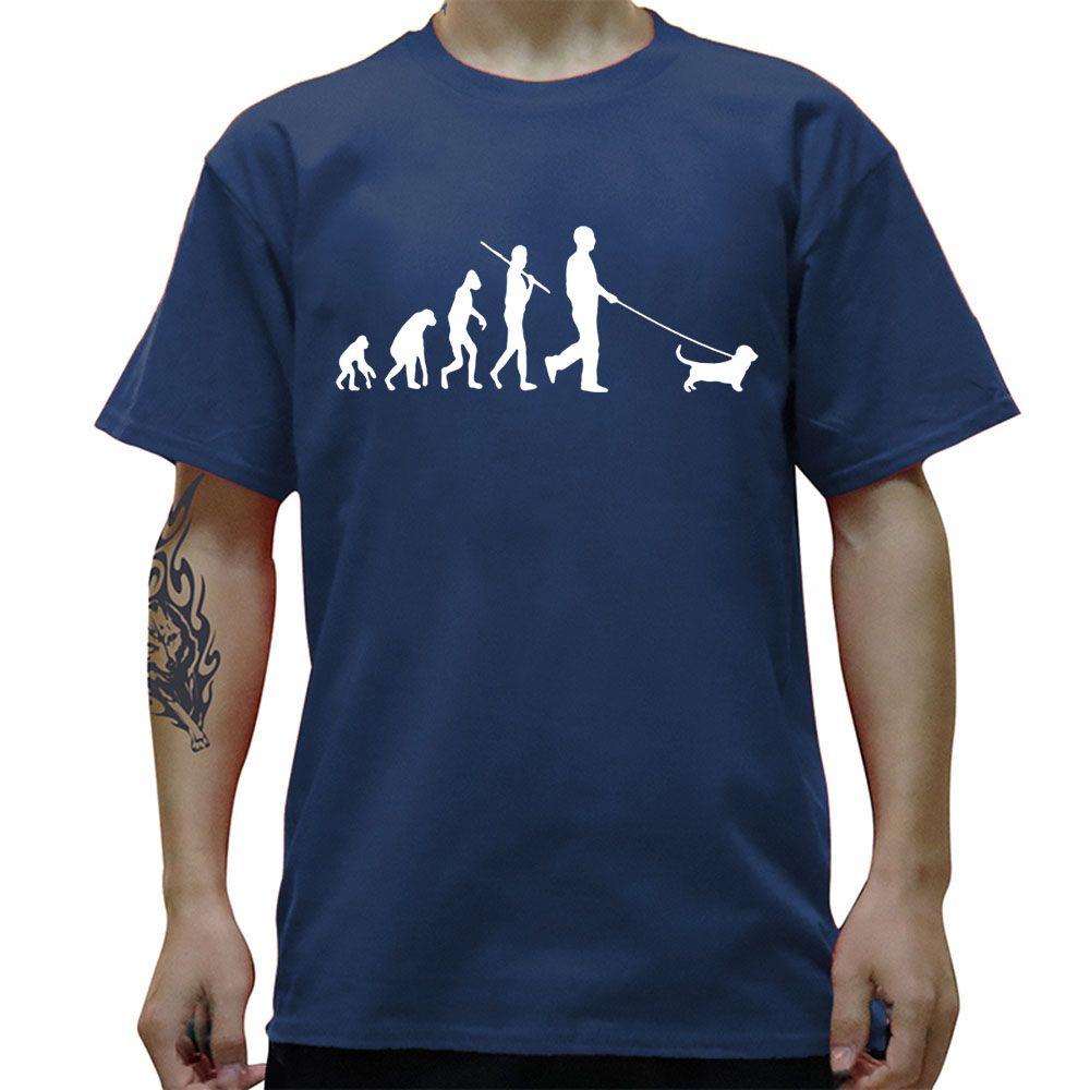 Evolution Basset Hound-Geburtstag lustige Unisex-Grafik-Mode neue Baumwolle Kurzarm T-Shirts Oansatz Harajuku T-Shirt