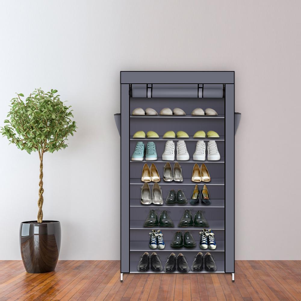 10 слоев 9 сетки обувь для хранения кабинета DIY сборочная шельфа для обуви пыленепроницаемая влагостойкая большая емкость