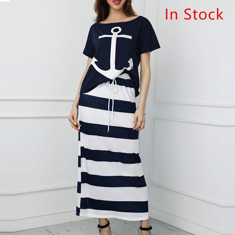 Conjuntos de 2 piezas de las mujeres con estampado de anclaje de barco camiseta y falda a rayas Dos piezas Set de las mujeres 2020 Spring Streetwear Casual Femenino Trajes A1112