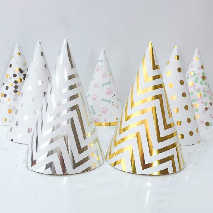 Chapeaux d'anniversaire Chapeaux Polka Dot Stripe Baby Baby Kids Partie d'anniversaire à la main Papier Papier Cap de décoration DWD3220