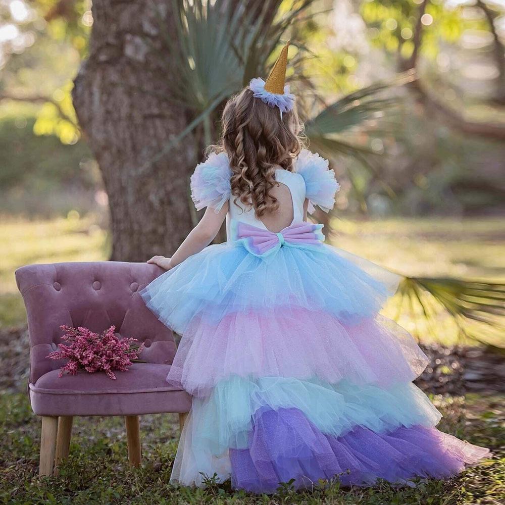 Nueva Moda Rainbow Cake Girls Unicorn Vestido Largo Cola Tren Vestido Baby Girl Princesa Cumpleaños Fiesta Bola Vestido Niños Horse Ropa Hairband
