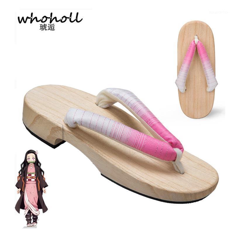 Zapatillas Whoholl Anime Demon Slayer Cosplay Disfraces Kamado Nezuko Geta Japonés de madera para mujeres Kimono Shoes Flip-flops1