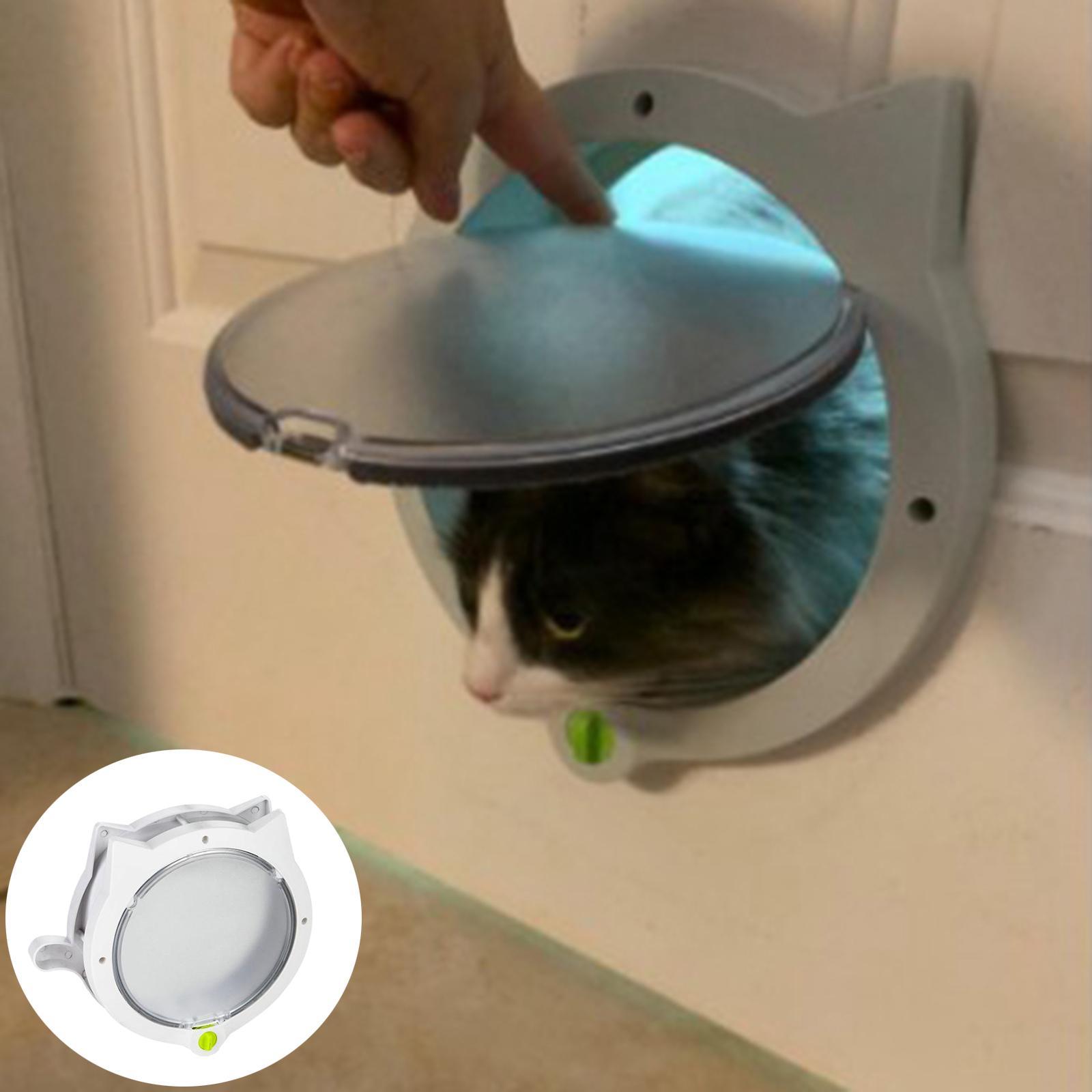 4 Way Lock Small Cat Hundeklappe Tür versteckte Wurfkiste Haustier Tür für Innen- / Außentüren Eintrittsausgang