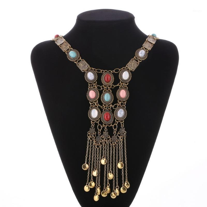 Hésiod tout neuf BOHO style multicolore perles collier mode africain mode coloré pierre naturelle longue glissière vintage collier1