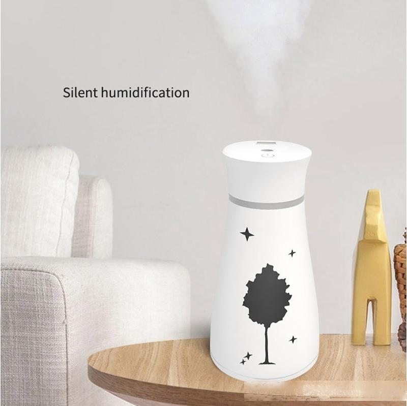 New Maple Leaf USB Air Humidifier Ultrasonic Aroma Essential Oil Diffuser with LED Lamp Mini Fan Office Air Purifier 3 in 1