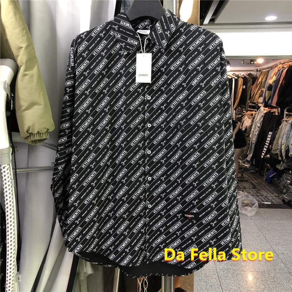 Black Vetements Рубашки 20FW Printemps Мужчины Женщины Фелеции Allover Рубашка Негабаритные Назад Вышивка Шрифт Передняя Анархия Блузка C1211