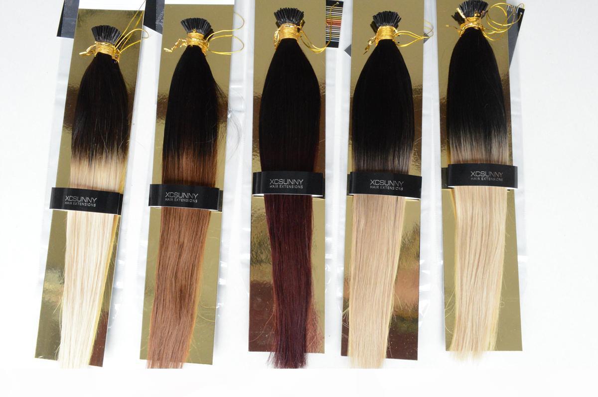"""XCSUNNY 100% malese human human remy i tip estensioni per capelli 18 """"20"""" fusion capelli umani estensioni 100g bastone punta remy capelli umani capelli ombre"""