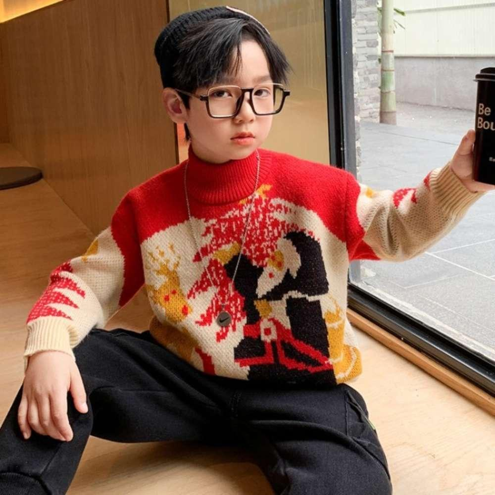 Collier High Collier de Boys pour enfants Vêtements de l'automne coréen dessin animé rouge 20 hiver nouveau beau pull polyvalent