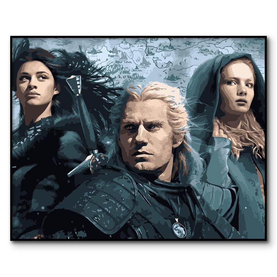La pintura al óleo de Witcher por números Póster Geralt de Rivia Pintura por número para adultos Ciri Coloring por números sobre lienzo Q1123