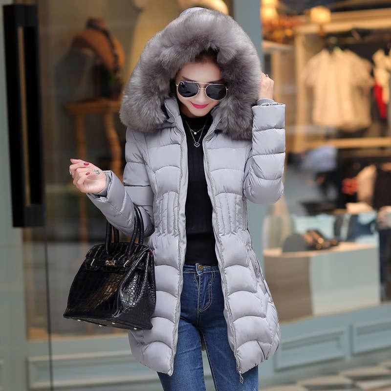 Inverno médio longo e jaqueta acolchoada de algodão para gola de pele feminina