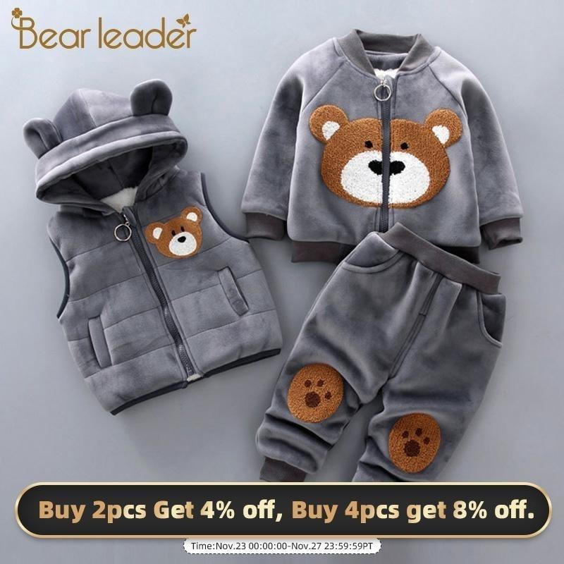 Медведь Лидер Baby Boy's Одежда Хлопок Теплый костюм Мультфильм Плюс Бархатный Свитер Детская Девушка Одежда с капюшоном Три частя 201126