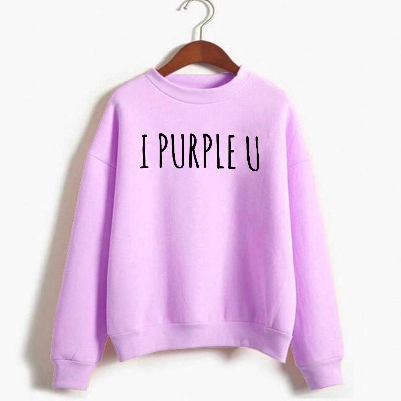 KPOP I Purple U Lettera Stampata Felpa da donna Autunno Inverno Fleece caldo Felpa con cappuccio stile coreano Streetwear Tops