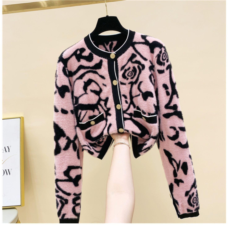 새로운 디자인 여성 O 넥 긴 소매 레오파드 인쇄 모헤어 울 니트 스웨터 카디건 코트 카 카 코스 플러스 사이즈 SML