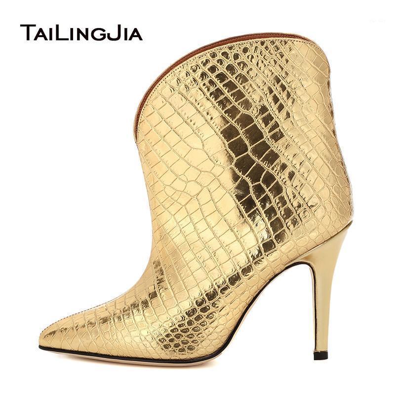 Punta de punta Botas de tobillo negro Zapatos de mujer Mujer 2020 botines cortos Tacón alto Shiny Gold Fashion Fashion Boot Otoño Caída Calzado 1