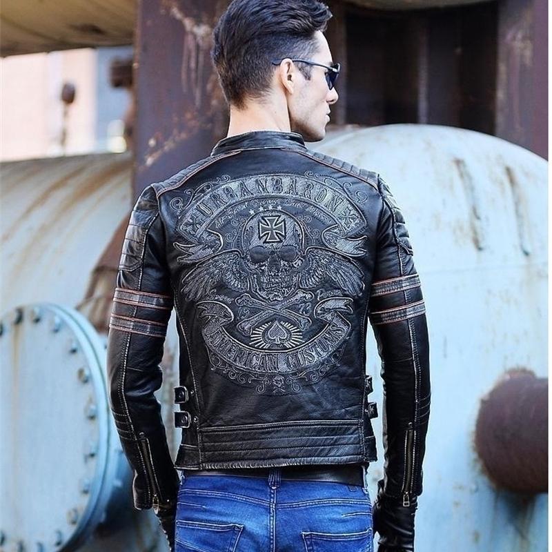 DHL Frete Grátis.brand Mens Crânio Casaco de couro genuína jaquetas de couro vintage, jaqueta de couro do motociclista do vintage dos homens.Plus tamanho homme fitness Y200109