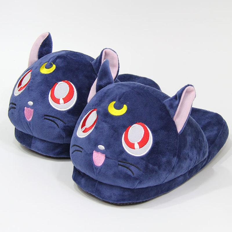 Anime Sailor Moon Plush Slippers Luna Cat Kitty Soft Stuffed Shoes Warm Winter Indoor Slippers 201203