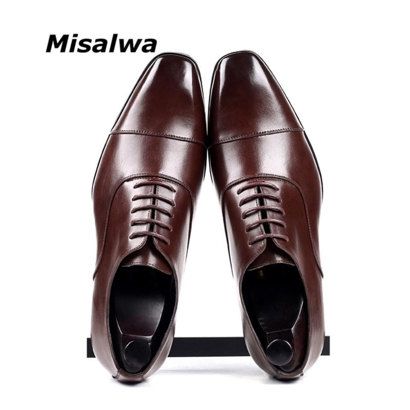 MISALWA CAP-TOE Классические Мужские Платье Обувь Wing-Tip Derby PU Кожи Большой Размер 38-46 3.5см Каблук Элегантный костюм Бизнес Формальные Оксфорды 201212
