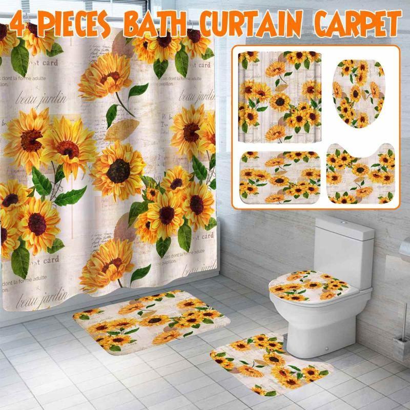 1/3/4 stücke Sonnenblume druck Duschvorhang Set rutschfeste Teppiche WC-Abdeckung und Badematte wasserdichte Badezimmer Vorhänge Wohnkultur