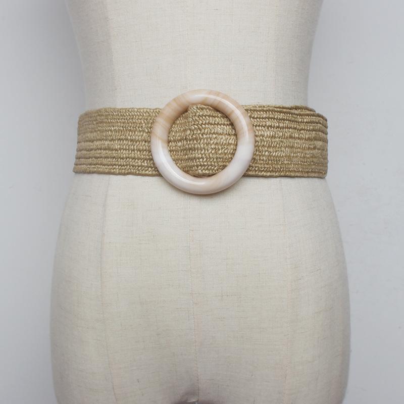 Neue damen gewebt stroh breiter geflochten holz gürtel weibliche cinturon quadratische taille schnalle gürtel für 344 dress runde frauen paja madera vthhs