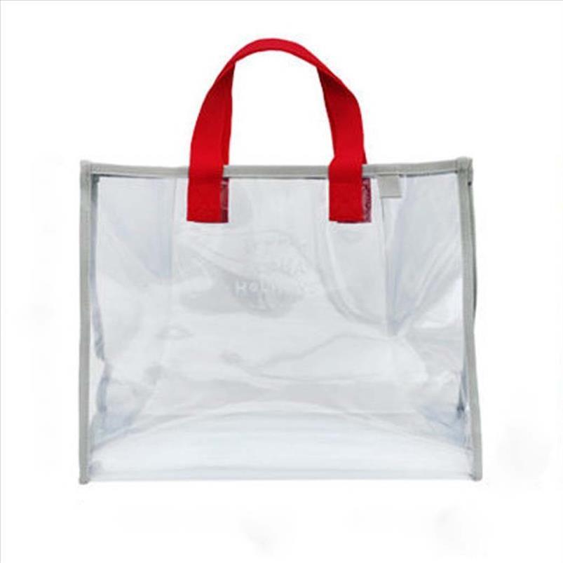 Borsa trasparente da donna riutilizzabile viaggio impermeabile spalla shopping shopping beach beach borse borsa in PVC Tote Cancella borsa di lavaggio P KBegt