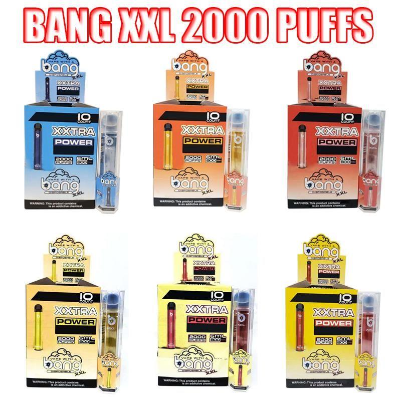 Bang XXL 일회용 vapes 펜 장치 800mAh Batterys 6ml 포드 빈 증기 2000 퍼프 Bang Xxtra Kit VS Bang XL Xtra