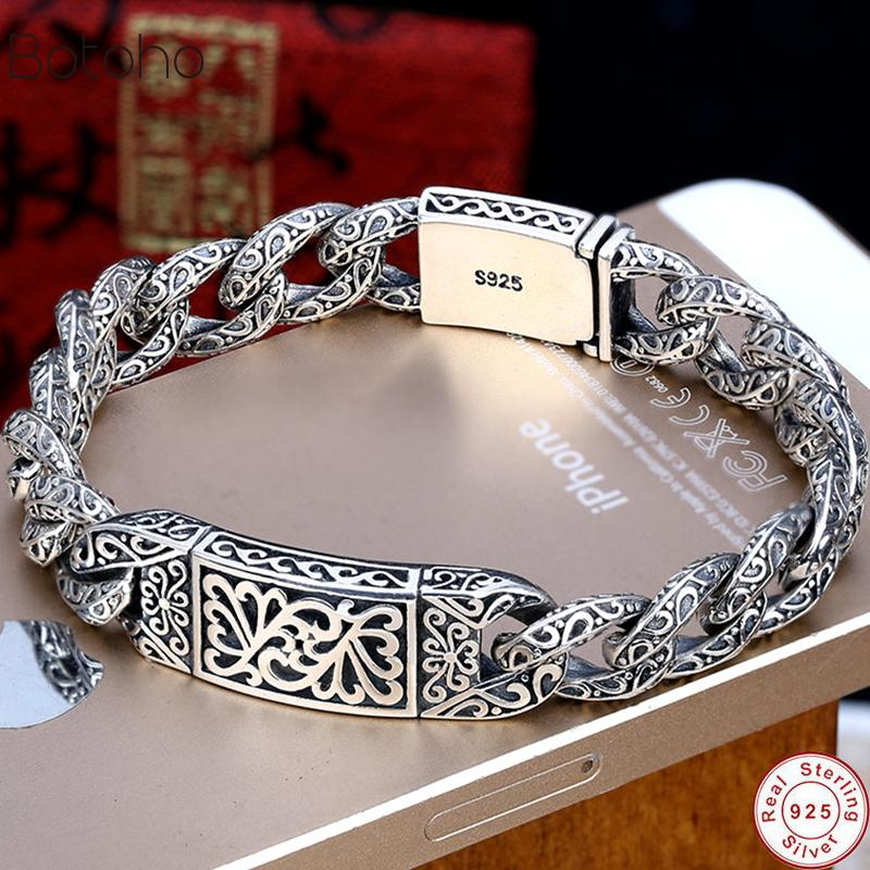 925 Sterling Silver colour Mens Personality Bracelet Thai Silver colour Retro Domineering Punk Tide Bracelet Pattern Whip Chain Q1201