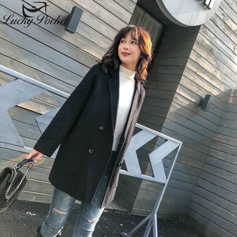 Frauen Herbst Winter Neue Elegante Feste Farbe Slim Wollmantel Weibliche High Street Marke Mantel Damen Warme Mode Schwarz ML10891