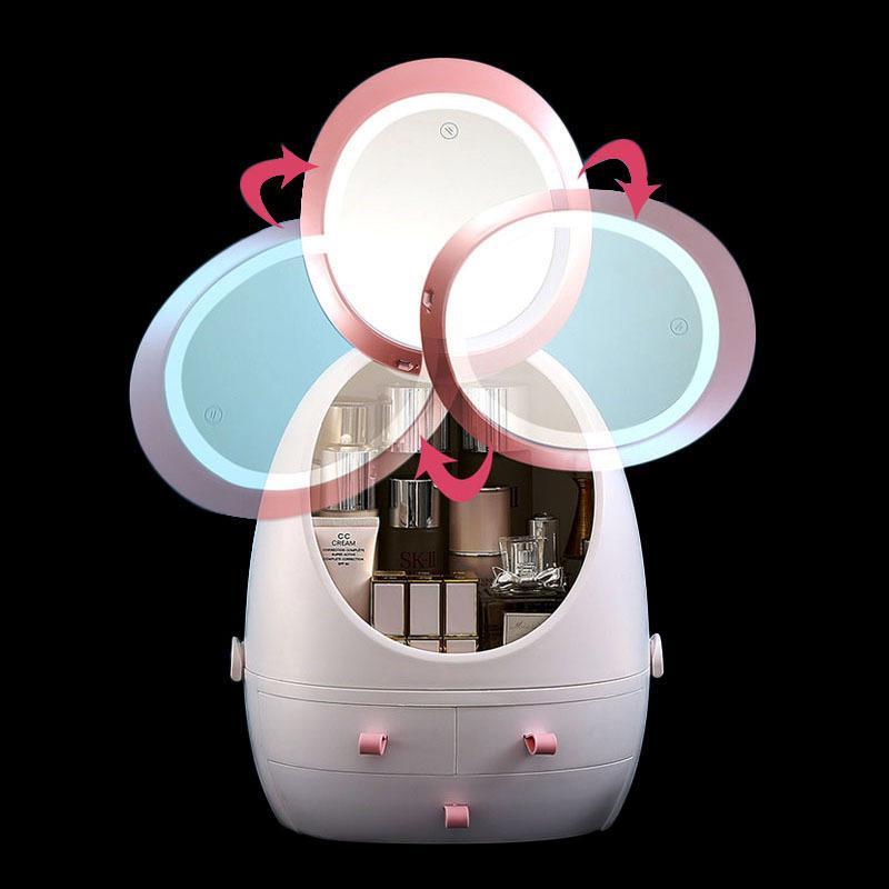 Mode LED-Licht HD Spiegel Kosmetik Aufbewahrungsbox Frauen Reise Schönheit Kilometer Kits Makeup Organizer Staubdichte Kosmetiktasche Hüllen 201201
