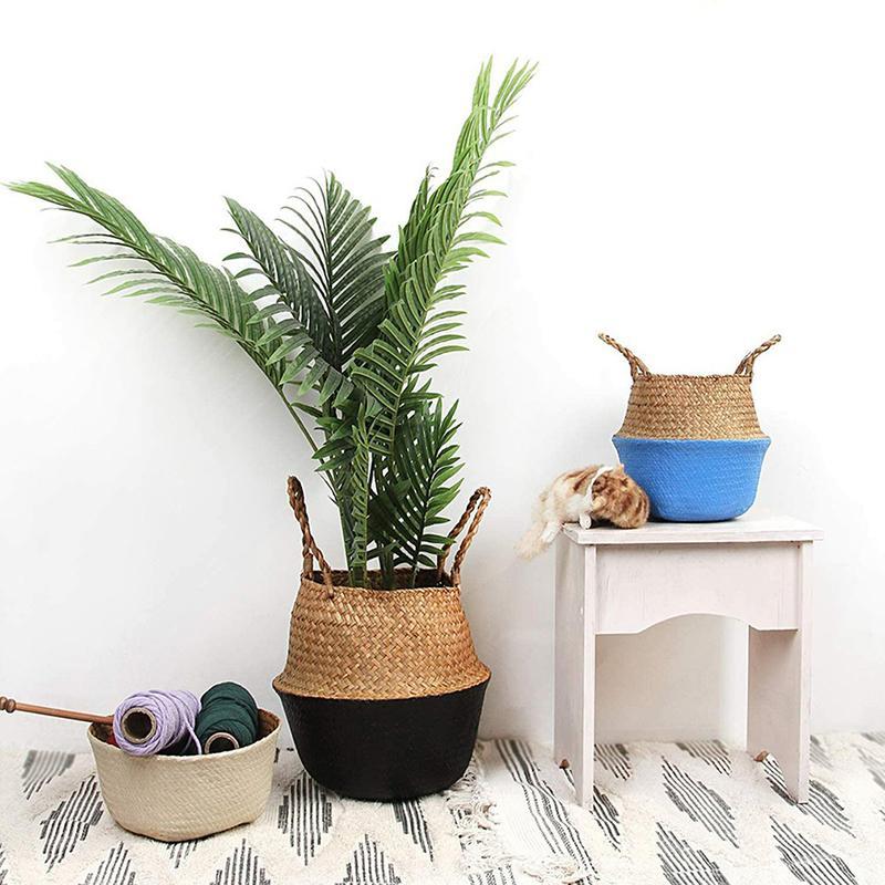 Składany Rattan Flower Basket Garnek Ogród Wiszący Doniczka Naturalna Seagrass Wiklinowa Handmade Wiken Domowy Pranie Piknikowe Kosze