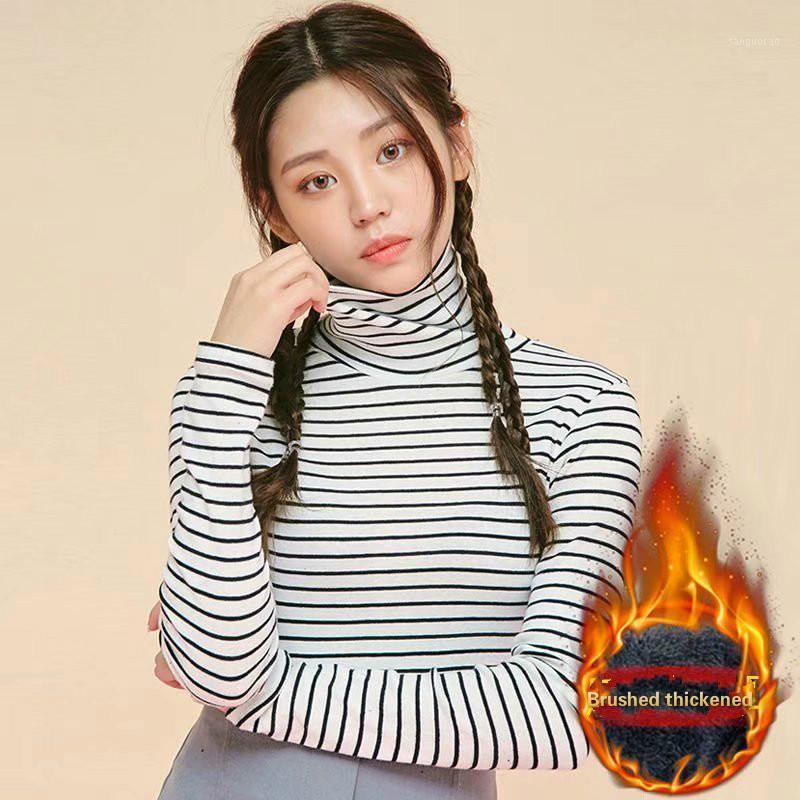 T-shirt Women 2020 High Collar Striped Plus Velvet Plus Size T-shirt Women Autumn/winter Long-sleeved Loose Bottoming Shirt Top1