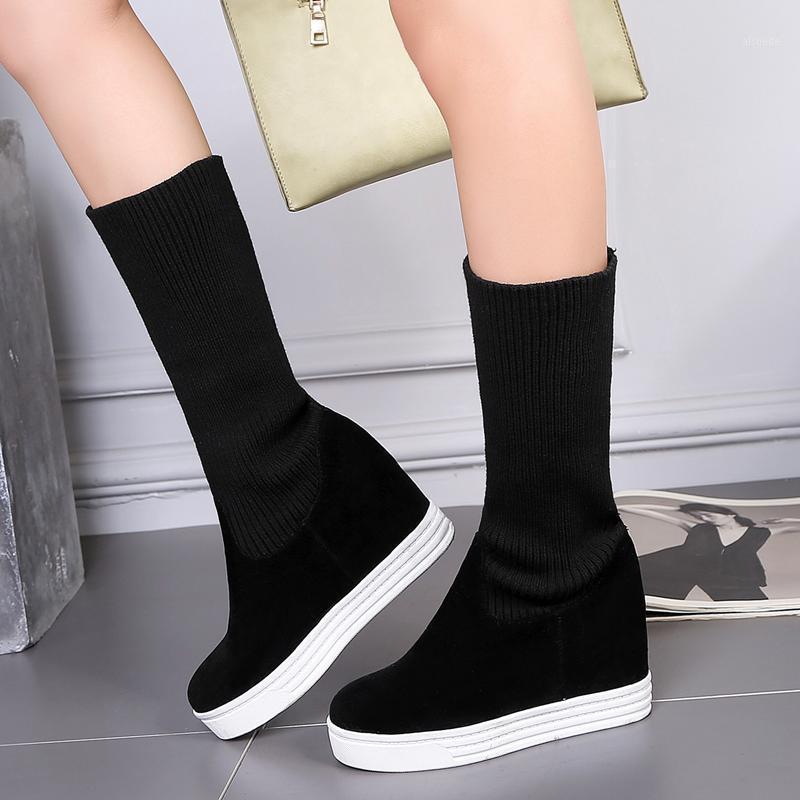 Stivali da donna elasticizzato coscia stivali da donna scarpe da donna con zeppa di moda tacchi nascosti stivali da metà vitello per le donne nera nuovo 2021 autunno primavera1