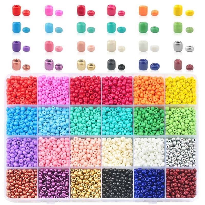 Venta al por mayor 2mm 3 mm 4 mm de vidrio semillas de vidrio coreas de semillas checas cuentas redondas para bricolaje pulsera collar accesorios de joyería 24 colores T200507