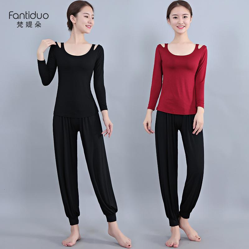 Sonbahar kış siyah yoga gösterir ince orta ve uzun kollu dans elbise, kadın fener pantolon egzersiz fitness takım elbise