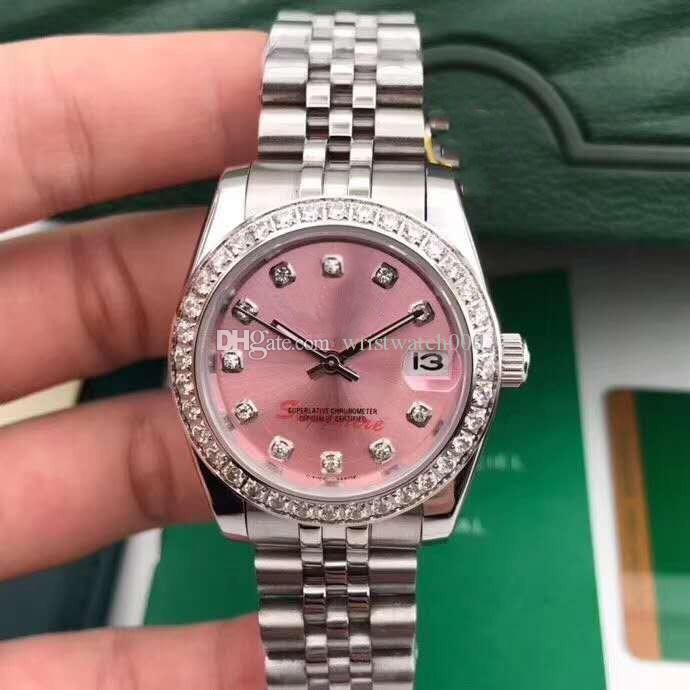 Высококачественные модные женские часы механические автоматические 36 мм алмазные бенель сапфир розовые женские часы наручные часы из нержавеющей стали