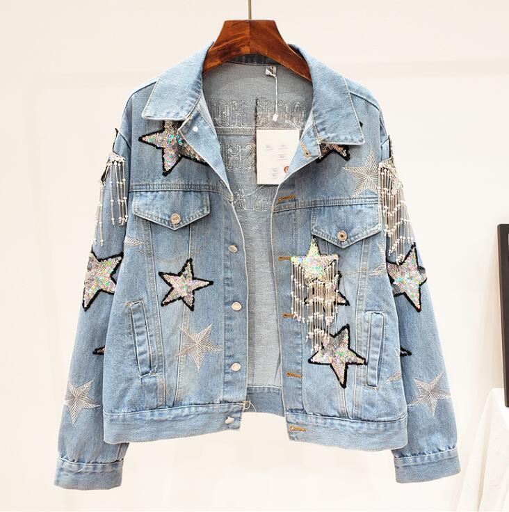 Женская осень зима повседневная свободные блестящие блестки звезды джинсовой женской высокой талии плюс размер джинсовая пиджак Uniware TB841