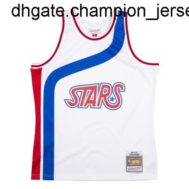 Nuevos bienes baratos Mitchell Ness Men's White Official 1974-75 Jersey Chaleco cosido Camisetas de baloncesto