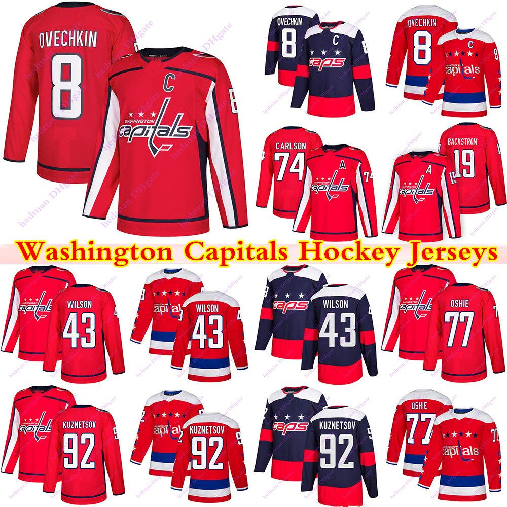 Washington Capitals Jerseys 8 Alex Ovechkin 77 TJ Oshie 43 Tom Wilson 74 Carlson 92 Evgeny Kuznetsov 19 Nicklas Backstrom Hockey Jerseys