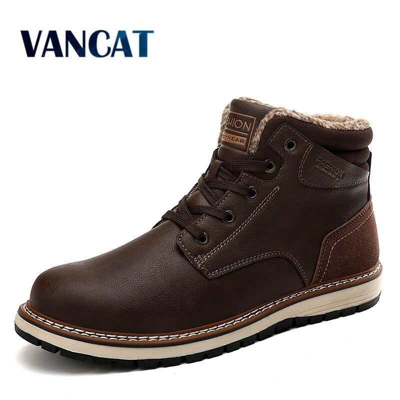 Vancat New Fashion Winter Men's Warm Plush Snow Waterproof Leather Ankle Outdoor Work Men Western Boots 201110