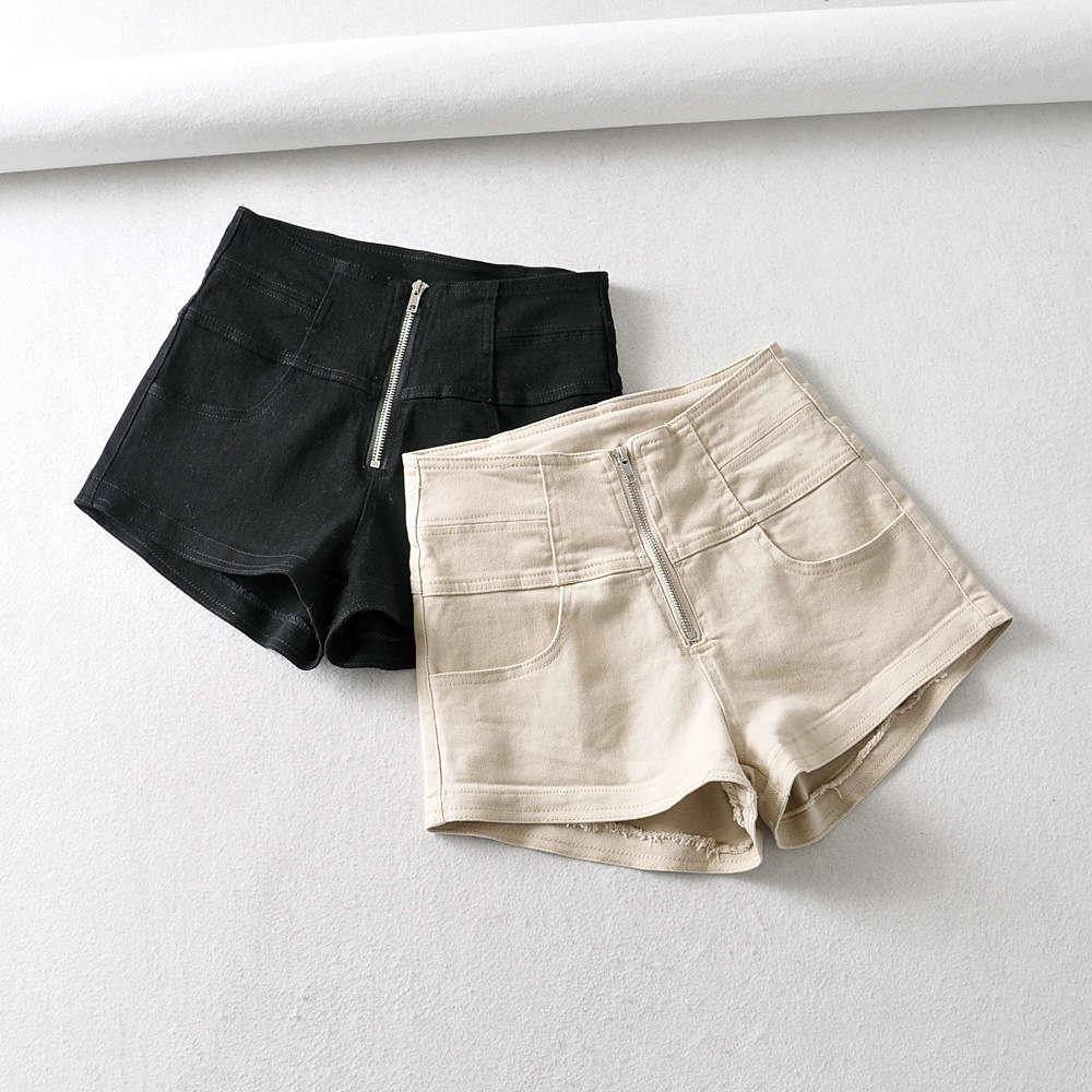 Primavera / verano de mujeres japonesas y coreanas 2020 nuevos pantalones cortos de algodón de cintura alta espectáculos para adelgazar con cremallera frontal elástica Pantalones de pierna ancha elástica